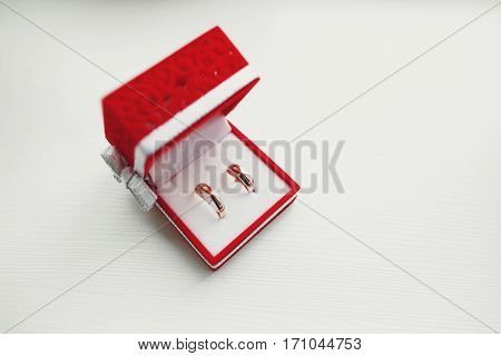 Pretty wedding rings lie in a red velvet box with a white bow