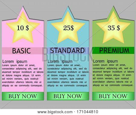 Business info graphics tabs template for presentation sites web design banner brochure tariff cards. Business menu. Vector illustration.