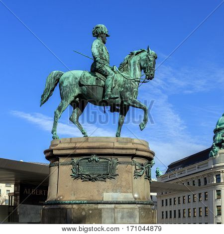 Equestrian statue of Archduke Albrecht, Duke of Teschen.Vienna, Austria. The statue of Archduke Albrecht was errected near the entrance to the Albertina museum, his former city residence in Vienna.