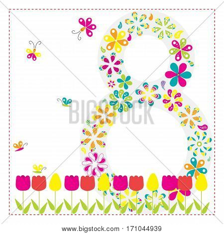 March 8. International Women's Day. Greeting card with flowers for your design