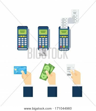 Set of payment options vector elements in flat style. Credit card processing, hand holding debit credit card, cash and receipt.