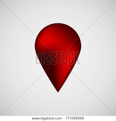 Red abstract map pointer badge, gps button with realistic reflex and light background for logo, design concepts, banners, applications, apps, presentations and prints. Vector illustration.