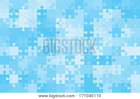 150 Blue Puzzles Pieces Arranged in a Rectangle - Vector Illustration. Jigsaw Puzzle Blank Template. Vector Background.
