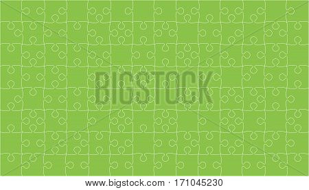 112 Green Puzzles Pieces Arranged in a Square - Vector Illustration. Jigsaw Puzzle Blank Template or Cutting Guidelines. Vector Background.