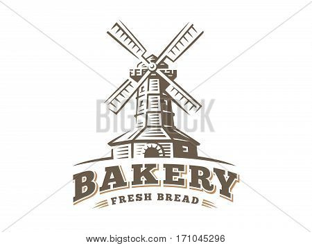 Windmill logo - vector illustration. Bakery emblem design on white background
