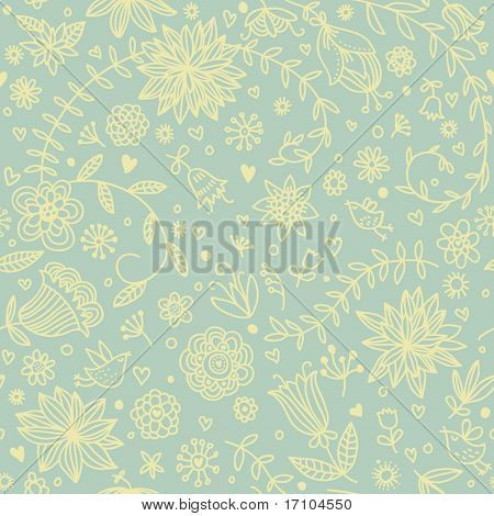Floral seamless background with cartoon birds in green colors