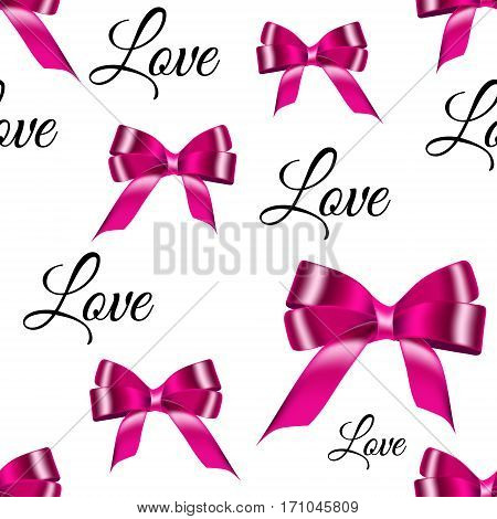 Seamless background with pink satin bows realistic from the tape and inscriptions love