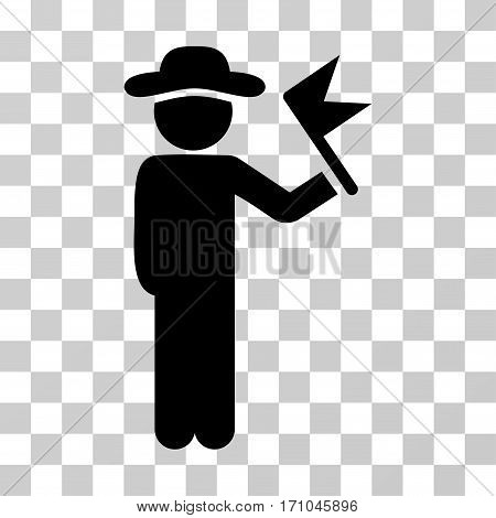 Gentleman With Flag icon. Vector illustration style is flat iconic symbol black color transparent background. Designed for web and software interfaces.
