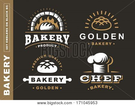 Set bread logo - vector illustration. Bakery emblem design on black background