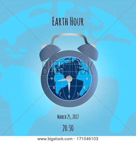 Earth and alarm clock on map background. Could be used in World Sleep Day vector illustration.