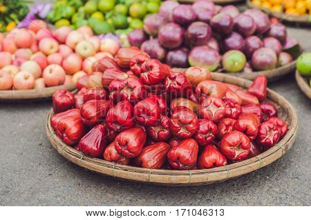 Red Rose Apples, Homphu, Syzygium Cumini, Yambozaili Or Malay Apple, Also Called Wax, Pink, Mountain