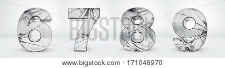 Numbers transparent, glass broken 3d rendering - 6, 7, 8, 9
