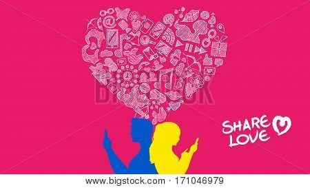 Social Media Young Couple Internet Love Design