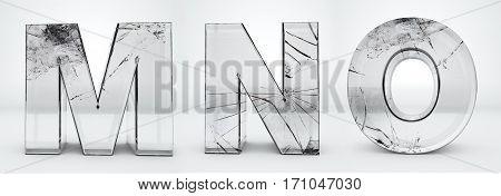 Alphabet transparent, glass broken 3d rendering - M, N, O