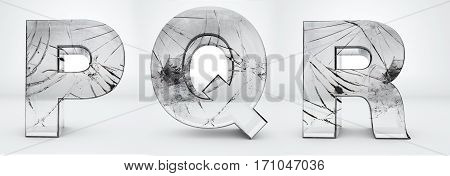 Alphabet transparent, glass broken 3d rendering - P, Q, R