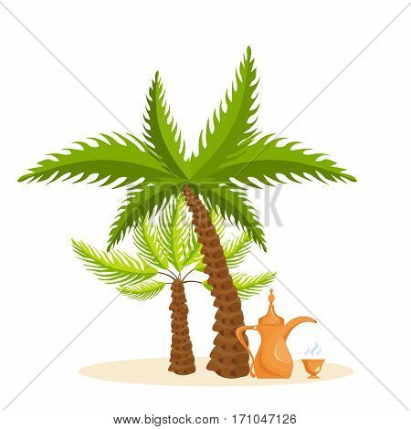 Warm country, palm tree, traditional coffee, familiarity with the traditions, culture, sights, environment. Vector illustration isolated on white background. Can be used in banner, mobile app, design.