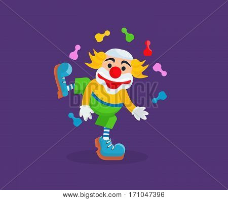 Circus concept. The clown in funny coloring of the clothes, entertains and amuses the audience, showing tricks, juggling of the objects, lifts the mood with jokes and numbers. Vector illustration.