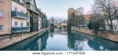 Winter panorama of Henker haus. Pegnitz river in Nuremberg, Bavaria, Germany