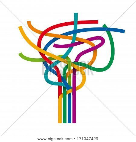 Vector abstract multicolored stripes and cables, wire