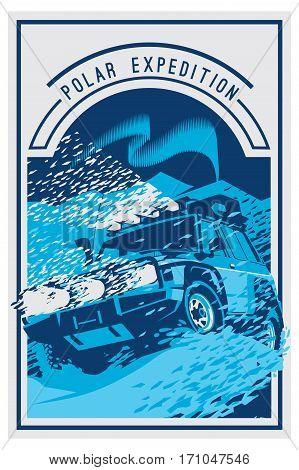 Off-road car logo, safari suv, polar expedition offroader. Vector illustration for sticker, poster, emblem or badge