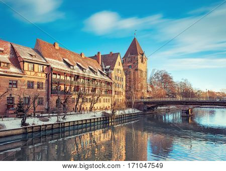 Winter landscape of Pegnitz river in Nuremberg, Bavaria, Germany