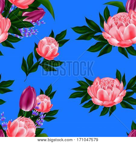 Seamless background with gentle budektom colors of peonies, tulips, lavender and herbs