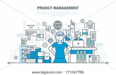 Project management, planning, implementation deadlines and time management, process control, operational discipline. Illustration thin line design of vector doodles, infographics elements.