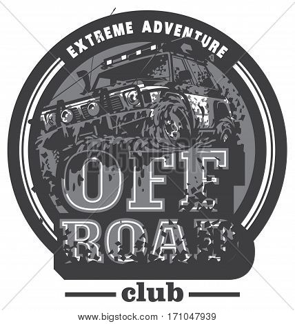 Off-road car logo, mud terrain suv, expedition offroader. Vector illustration for sticker, poster, emblem or badge