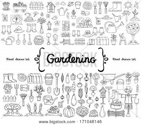 Vector set with hand drawn isolated doodles on the theme of garden garden tools agriculture equipment harvest. Symbols of gardening on white background. Sketches for use in design