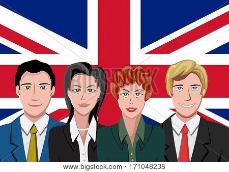 British people front of the flag, language team