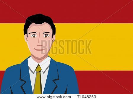 Spanish people front of the flag, language man