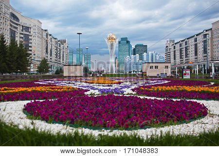 ASTANA, KAZAKHSTAN - July 15, 2016: Baiterek - a monument in the capital of Kazakhstan, Astana, one of the main attractions of the city