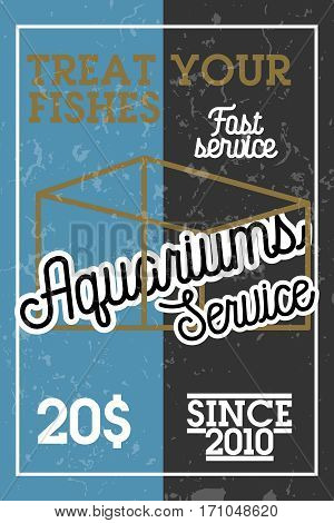 Color vintage aquariums service banner. Vector illustration, EPS 10