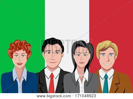 Italian people front of the flag, language team