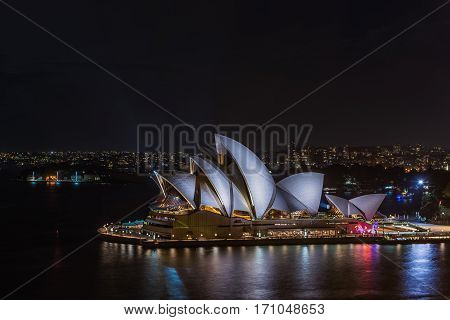 Sydney Opera House Sydney Australia at night . FEB 14,2017 Sydney Opera House is modern building, well known worldwide.