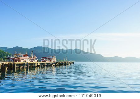 Thailand - February 4: Sunrise at Bang-Bao Koh Chang Trat Province on February 3 2017 in Thailand.