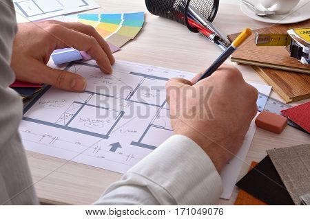 Designer Developing A Decoration Project On Your Desk Elevated View
