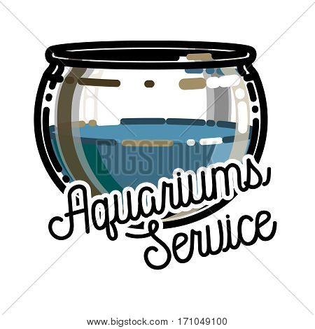 Color vintage aquariums service emblem, label, badge and design elements. Vector illustration, EPS 10