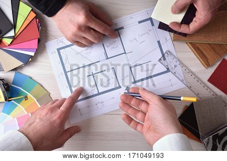 Team Of Designers Developing A Decoration Project Top
