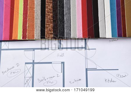 Materials And Colors For Interior Decoration On Plan Top View
