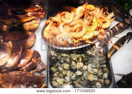 Seafood assortment on ice at the fish market stall close up.