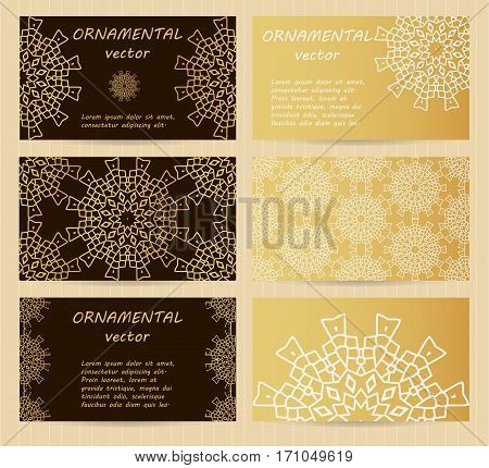 Business Cards 3.5 X 2 Inch Size Set. Golden Mandala Decoration. Eastern, Oriental, Islamic Style. V