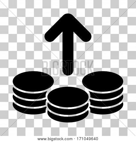 Payout Coins icon. Vector illustration style is flat iconic symbol black color transparent background. Designed for web and software interfaces.
