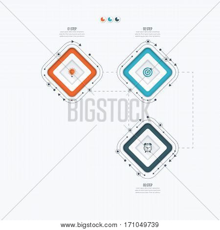 Infographics template 3 options with square. Can be used for workflow layout, diagram, number options, step up options, web design, presentations