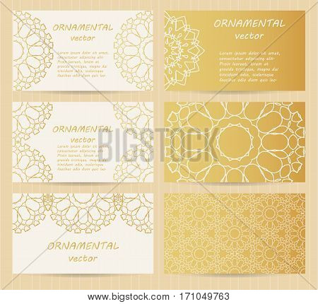 Business Cards 3.5 X 2 Inch Size Set. Golden Mandala Decoration. Eastern, Oriental, Islamic Style. V