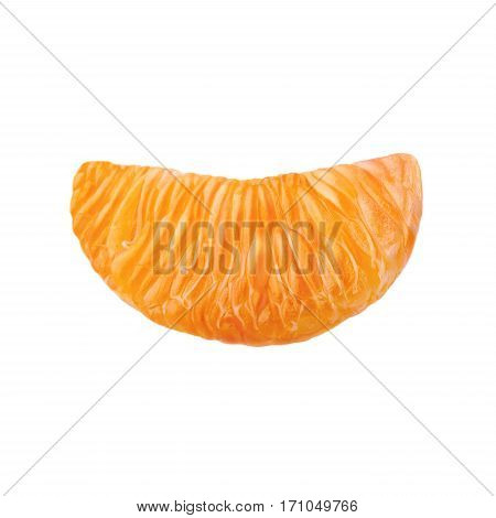 A slice of juicy ripe mandarin. Mandarin isolated on white background.