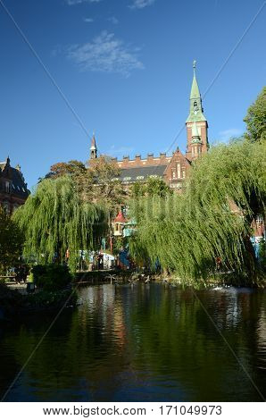 A view of the town house from the lake in Tivoli gardens