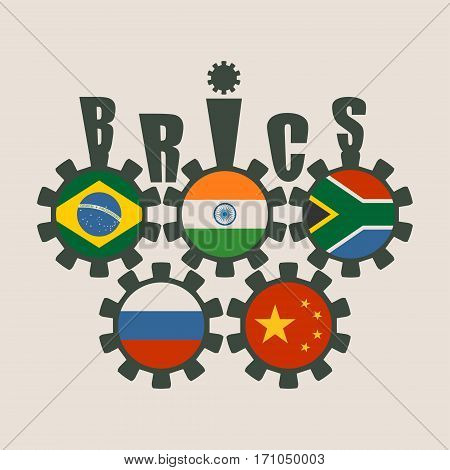 BRICS - association of five major emerging national economies members flags on cog wheels. Trade union. Global teamwork. Blue background.