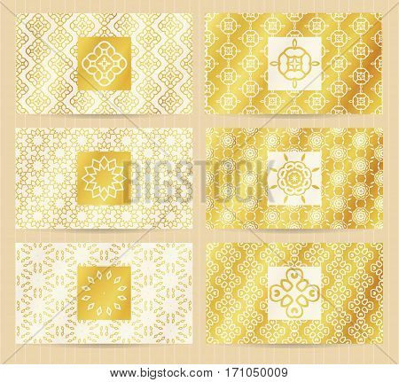 Business Cards 3.5 X 2 Inch Size Set With Seamless Geometric Patterns And Logo Elements. Golden Back