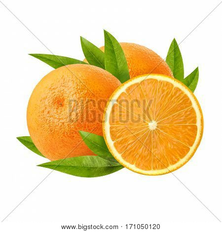 Two ripe juicy orange and its half. Beautiful juicy orange. Cut a slice of orange to a mature and fresh pulp isolated on white background